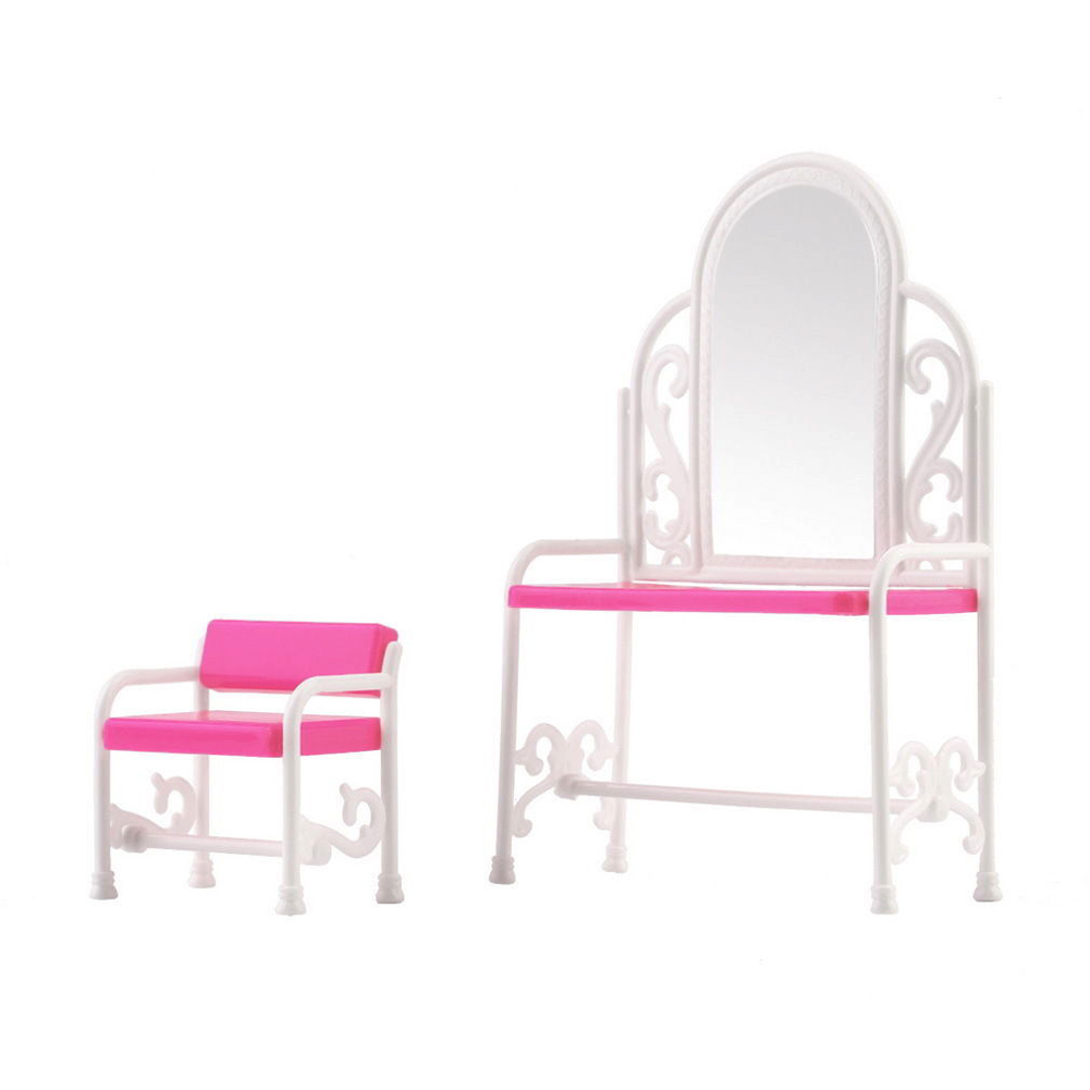 Bedroom plastic furniture pretend toys fashion dressing table and chair set for barbies dolls Plastic bedroom furniture