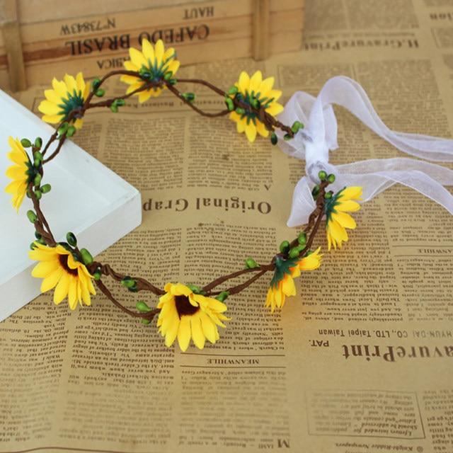 16 17CM Artificial Sunflower Wreath Headgear Headdress Wedding Photo  Vacation Draw A Portrait Decorative Flower Wreaths S $