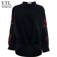 YTL Women Long Sleeve Flower Embroidery Blouse Shirt Cotton Loose Fit Oversized Button Up Blouses Top Female D04