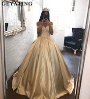 Gold Satin Princess Ball Gown Quinceanera Dresses Off Shoulder Lace 3D Flowers Sweet 16 Dresses Vestidos de quincea era 2019
