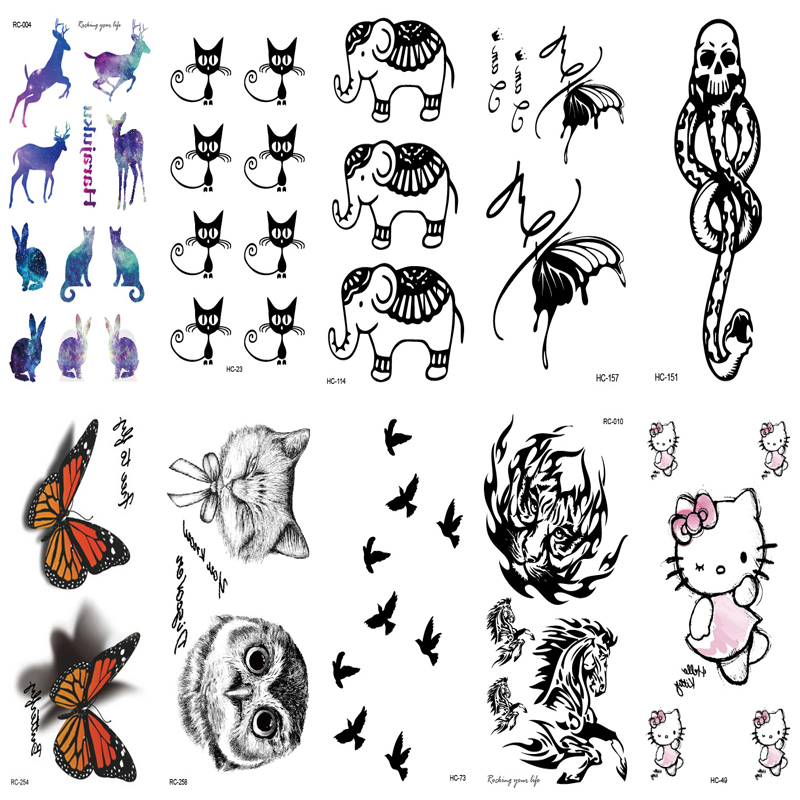 10PCS Set Body Art Fake Tattoo Deer Cat owl bird Animal Image Waterproof Temporary Tattoo tatuajes