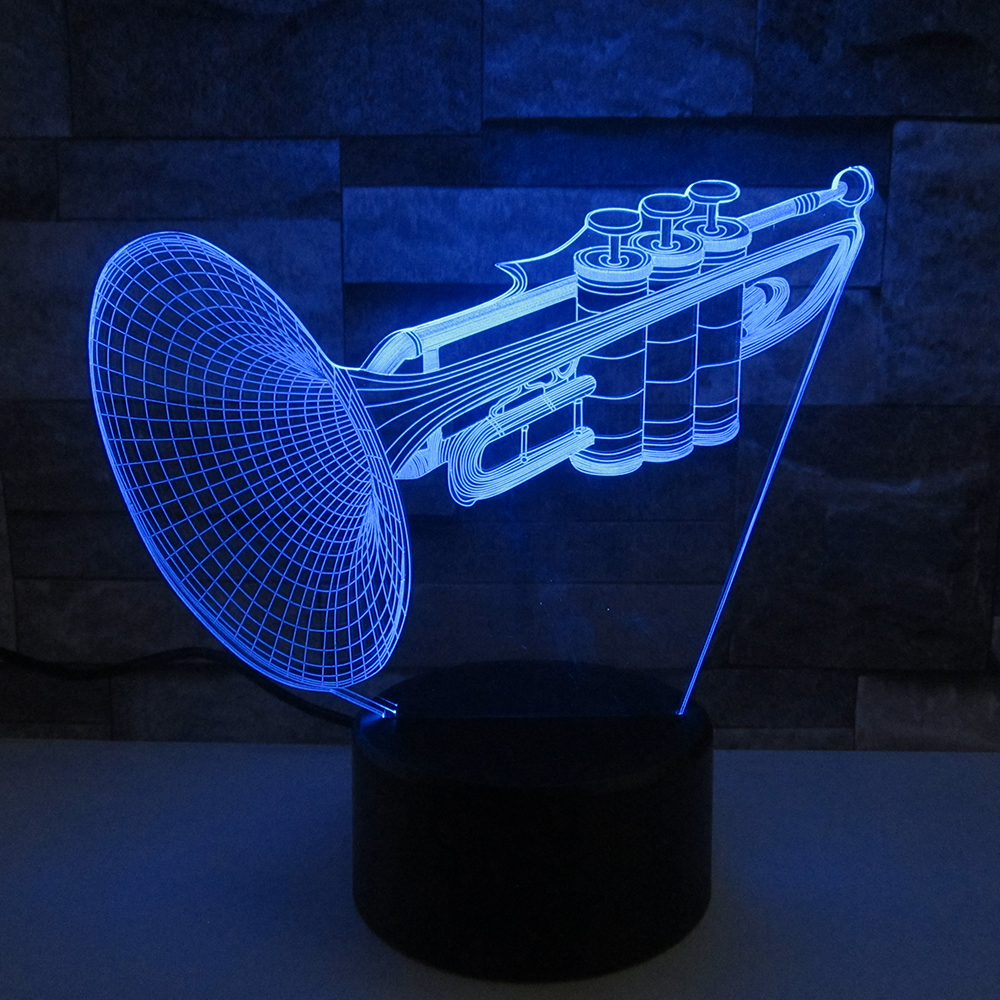 Musical Instruments Trumpet 3D Flash Night Light LED 7 Colors Changing Bedroom Bedside Desk lamp Baby For Kid's Gift spiderman shape night light 3d stereo vision lamp acrylic 7 colors changing usb bedroom bedside night light creative desk lamp