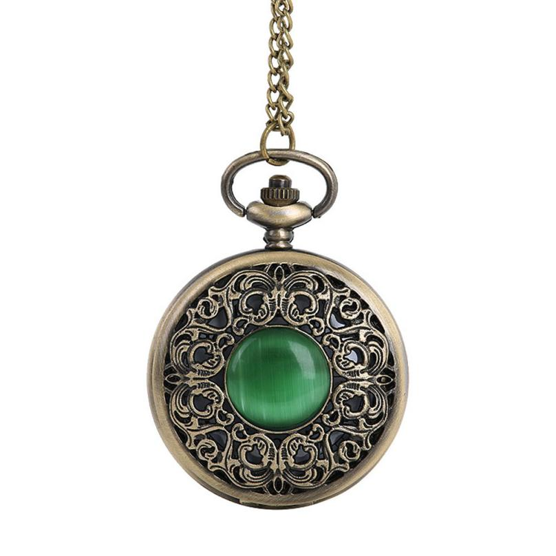 2017 New Vintage Chain Retro The Greatest Pocket Watch Necklace with Emerald For Grandpa Dad Gifts Jan16 unique new bronze dad pocket watch necklace the greatest dad fob father vintage quartz men watches luxury gift relogio de bolso
