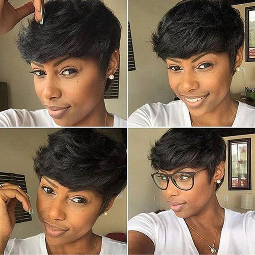 Women Short Black Brown Front Curly Hairstyle Synthetic Hair Wigs 0704