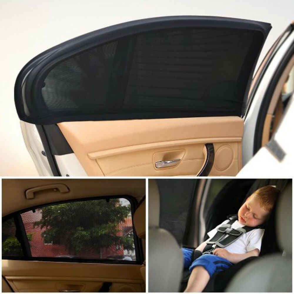 2PCS Car Rear Window Shade UV Sunshine Blocker Cover Black Mesh Kids Protection