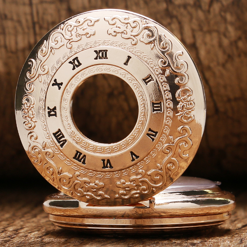 Image 3 - 2020 Vintage Hollow Roman Numbers Skeleton Mechanical Hand Wind Pocket Watch Montre Gousset With Chain Men Women Giftcase 360watch cases and boxeswatch unisex -
