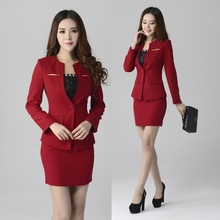 2015 Plus Size Elegant Red Autumn And Winter Formal Uniform Style Professional Business Work Wear Skirt
