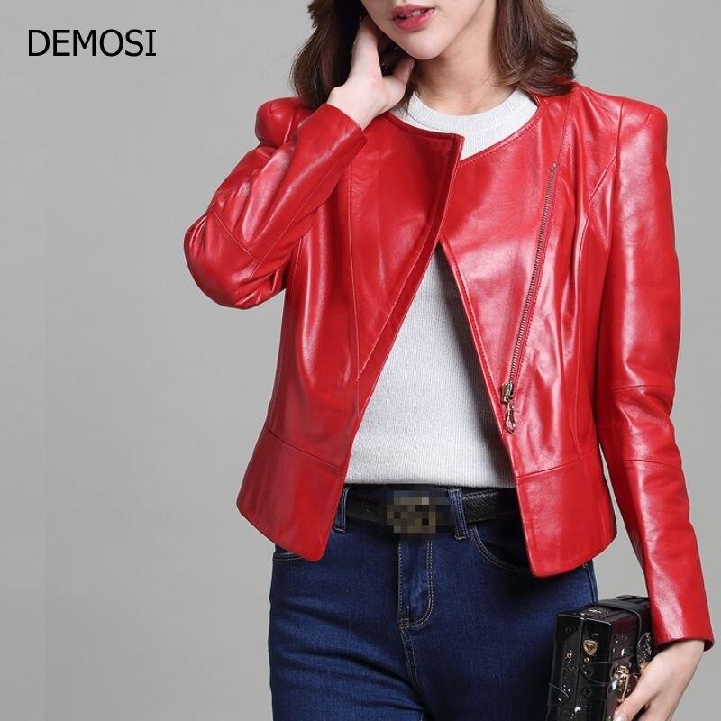 New Arrival Hot Sale Womens Sheepskin Genuine Leather Short Coats Turn Down Collar Zipper Female Long Sleeve Motorcycle Biker