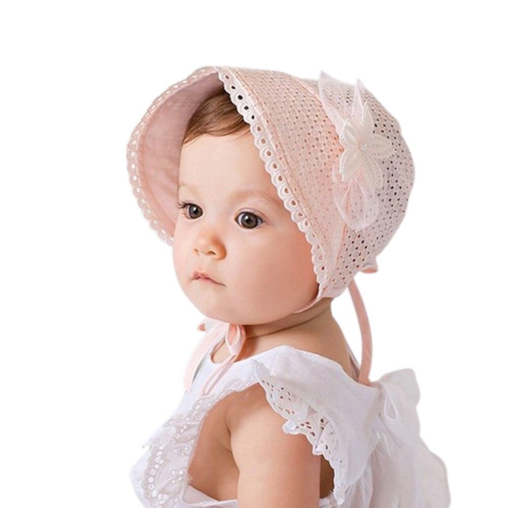 Spring Summer Sweet Princess Cap Hollow Baby Girls Hat Beanie Cotton Bonnet Kids Flower Lace Floral Caps BM88