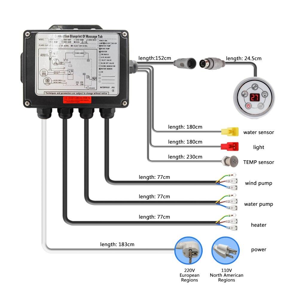 Painel de controle digital redondo da c.a. 110 v/220 v com tela lcd ce certificado spa combinação massagem água banheira controlador kits-5