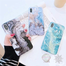Luxury Marble Glitter phone Case for iphone XS Max X XR Glossy soft silicone For 6 6s 7 8 plus back cover