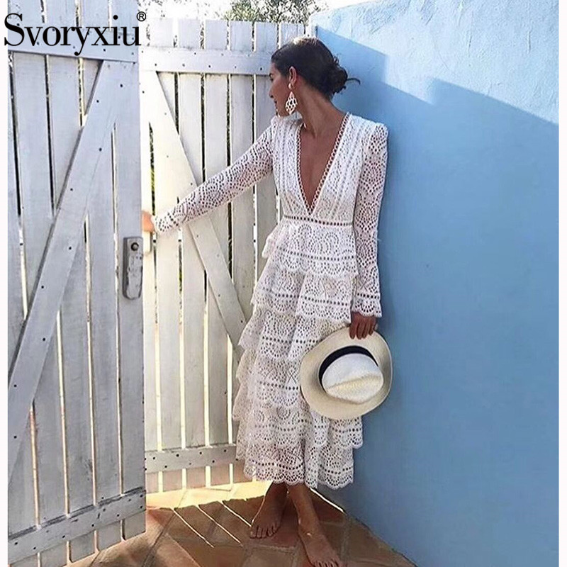 Svoryxiu Designer Elegant Cotton Embroidery Summer Long Dress Short Sleeve Cascading Ruffle Vintage Sexy V Neck