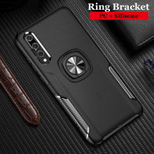 Silicone Cases For Huawei P20 P 20 Pro Case Metal Ring Stand Soft Cover for Lite Phone Bag