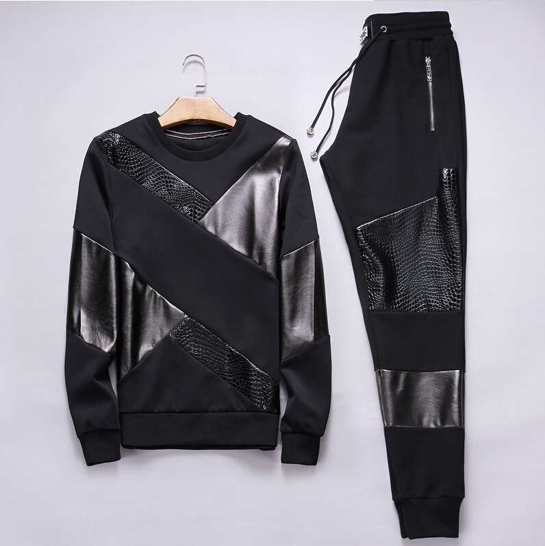 new autumn and winter black tracksuit young tiger cashmere embroidery with leisure