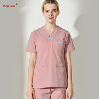 Unisex Medical Scrub Sets Short Sleeve Nurses Uniform Doctors Clothing Set Dental Clinic Work Overalls Surgical Gown Lab Coat ry