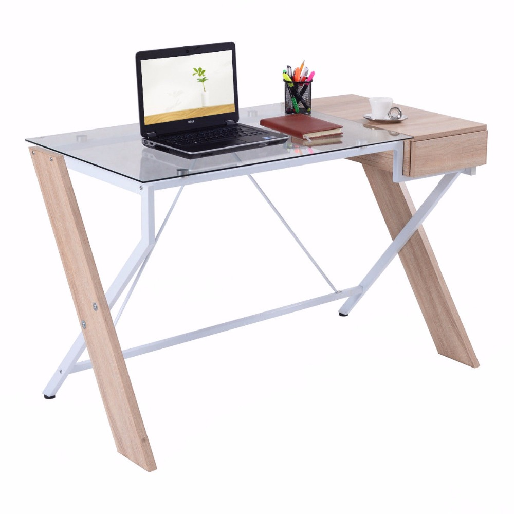 Giantex Computer Desk Laptop Table Glass Top Wood Metal Frame Home Office Furniture New Commercial Furniture HW52843 free shipping christmas deer table european diy arts crafts home decorative elk wood craft gift desk self build puzzle furniture
