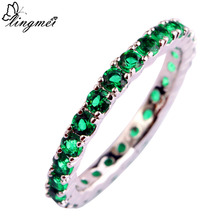 2015 New Jewelry Round Cut Emerald Quartz 925 Silver Ring For Women Size 6 7  8 9 10 11 12 13 Romantic Love Style Wholesale chic rhinestone faux emerald round ring for women