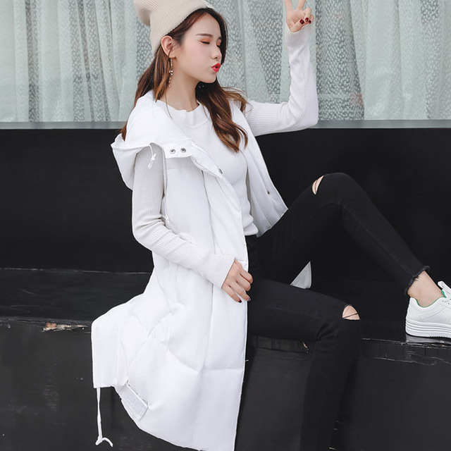 Voobuyla Plus Size 5XL Long Vest Women Sleeveless Jacket Down Cotton Warm Vest Mujer 2018 Autumn Winter Hoodies Waistcoat Female 2