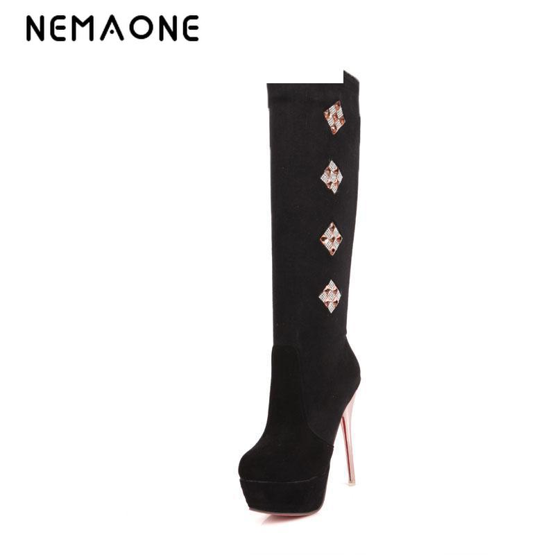 Big Size 34-43 High Over-the-Knee Boots for Women Flock 13.5cm Ladies Long Boots Sexy Winter Shoes Warm Shoes цены онлайн