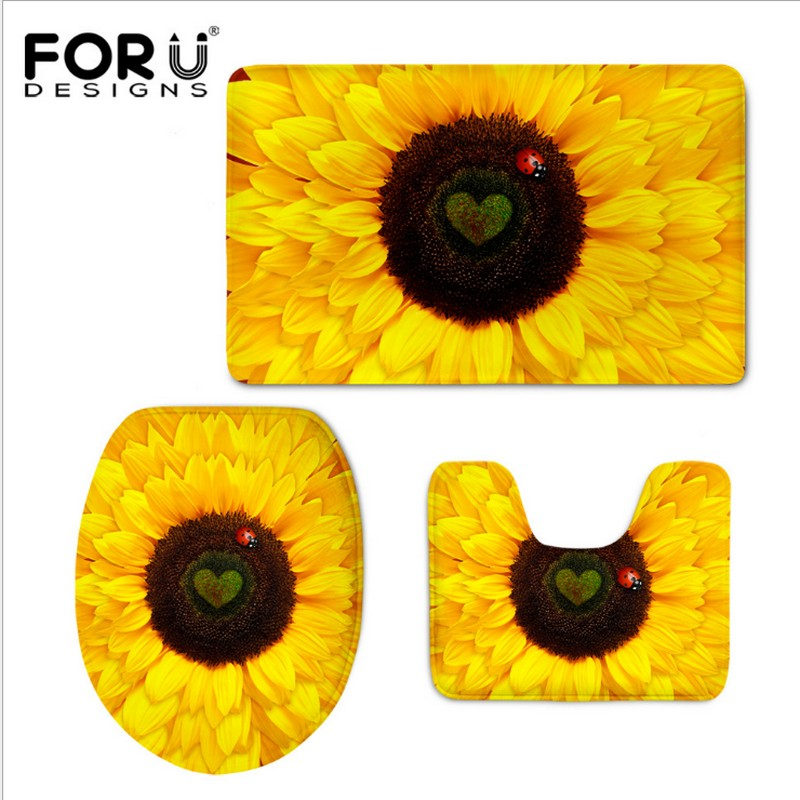 3 STÜCKE badezimmer Teppiche Lustige Pflanzen Sonnenblume 3D Print ...