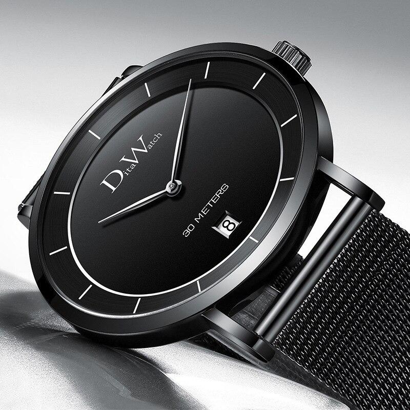 DITA hommes montre mode décontracté montre-bracelet mince boîtier nouveau Design cadran Simple Style sans seconde main créatif Auto Date Relogio