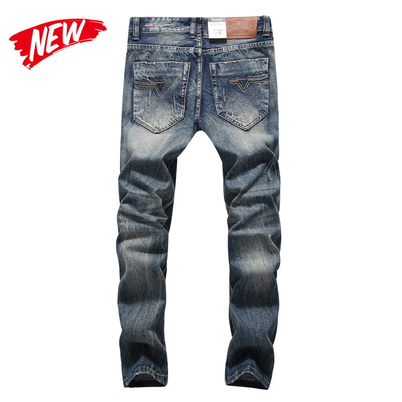 2019 Newly Designer Men Jeans Blue Color Straight Fit 100% Cotton Buttons Long Pants Top Quality Balplein Brand Ripped Jeans Men