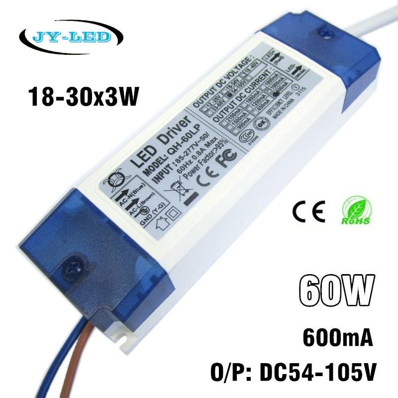 40W 50W 60W LED Driver 18-30x3W 600mA DC54-105V 0.95 High Power Factor Lighting Power Supply For Floodlight Spotlight Lighting