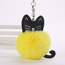 QUINEE OX 8CM New Cute Cat Pattern Keychain Women Car Bags Key Ring Plush Fur Ball Pendant Keyring for Girls Toys