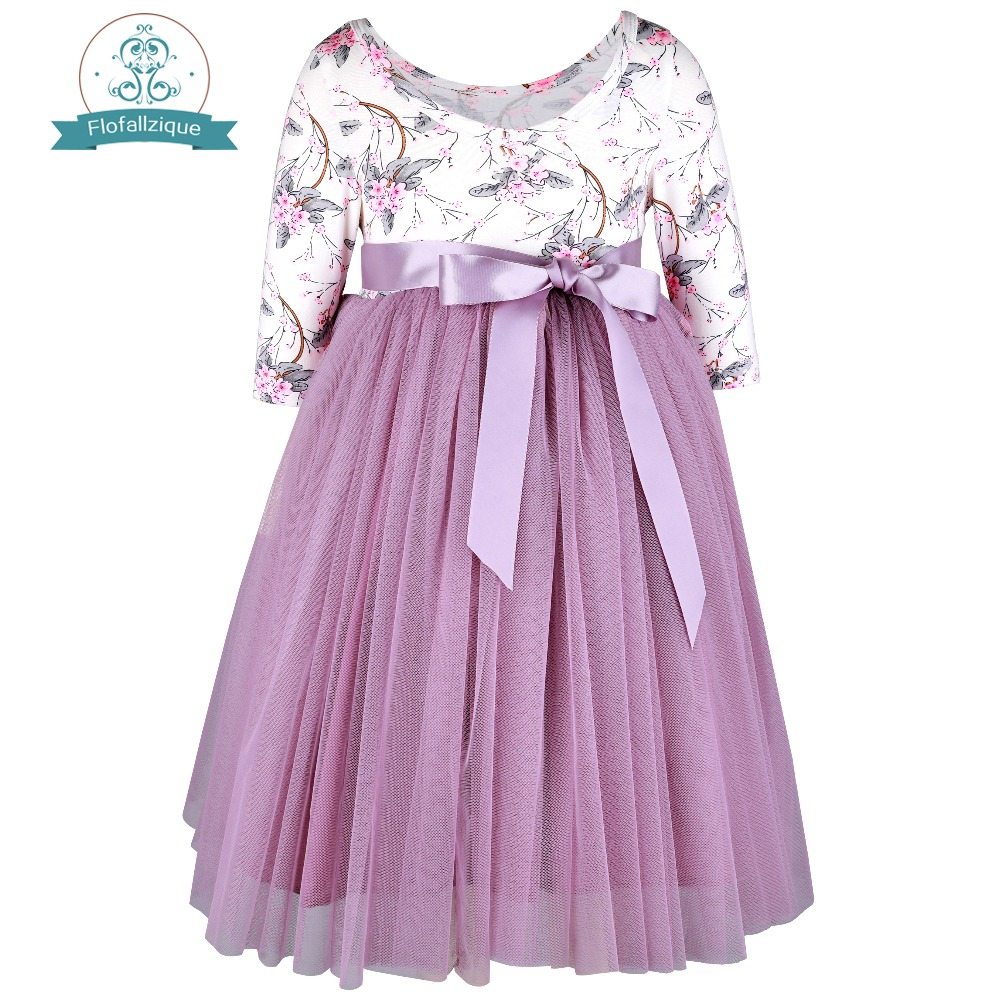 f7d08e860 Detail Feedback Questions about Flofallzique Cotton Vintage Print Tulle  Dress Behind Deep V Collar Ribbon Bow Tie Princess Christmas Cute Girl Clothes  1 12Y ...