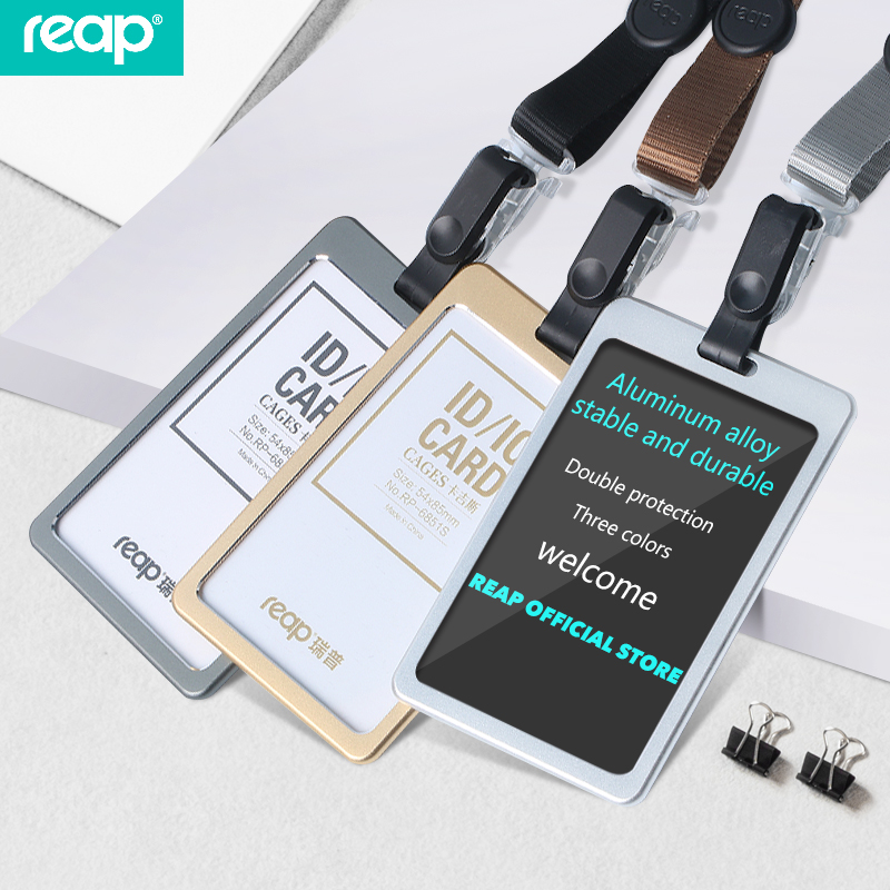 Reap 6851S Vertical Name badge holder Aluminum Alloy Business Card Badge Holder with retractable Lanyard Strap letter word printing soft plush square pillow case