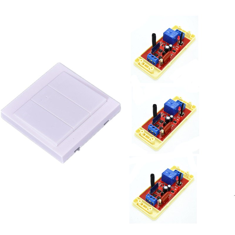 3pcs 110V 10A RC Remote Control Receiver Learning Switches For Light Lamp LED + 433mhz 1pcs Wall Panel Remote Transmitter EV1527