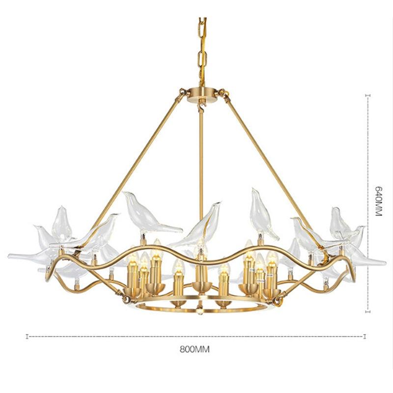 2017 kupfer Rahmen Kunst Leuchten Gold Hängen Lampe Moderne Vogel ...