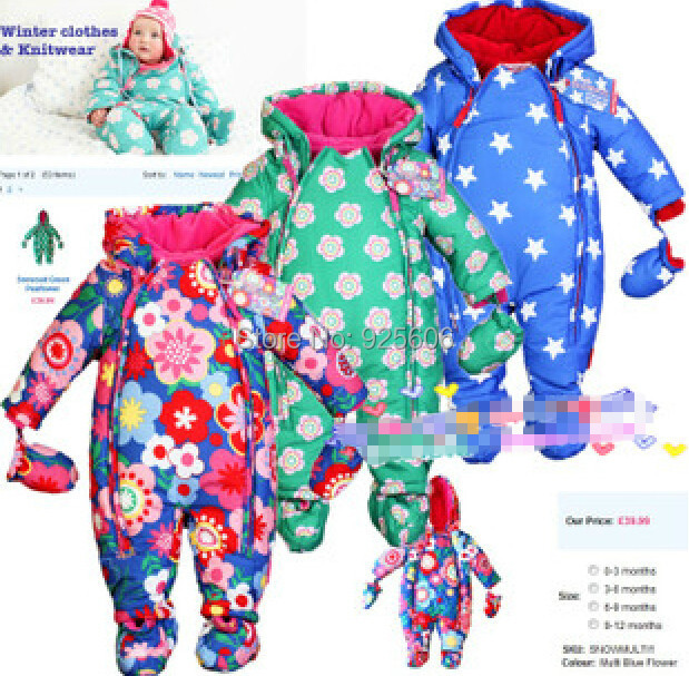 2015 Brand Winter baby rompers thicken fleece padded overalls jacket boys girls snowsuit silk cotton jumpsuit kids clothes 6-24M