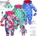 2015 marca macacão de bebê inverno engrossar velo acolchoado macacão meninos jaqueta meninas snowsuit macacão de algodão de seda roupa dos miúdos 6 - 24 M