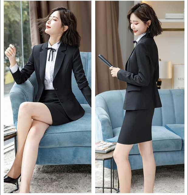94e7557d61ed ... trajes de falda de mujer 2018 para mujer talla grande para mujer  Chaquetas y blusa Blazers pantalones faldas Conjunto 2 3 4 unidades en  Aliexpress.com ...