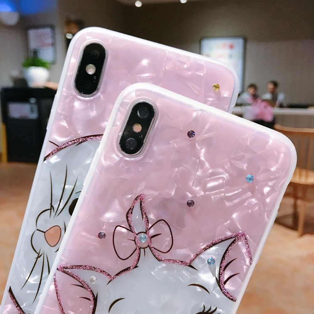 Мягкий силиконовый чехол для телефона с мультяшным бриллиантом Marie Cat для iphone XS MAX, милый розовый красивый чехол для iphone 6, 6 S, 7, 8 plus, X