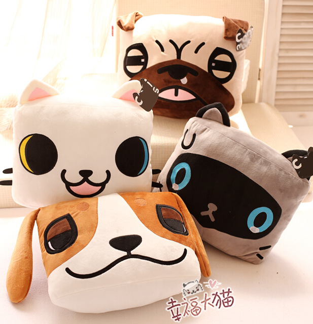 Candice guo plush toy stuffed doll South Korean cartoon animal baby cat kitty dog cute pillow cushion kid children birthday gift blue fox vibrax uv bfu6 yopu