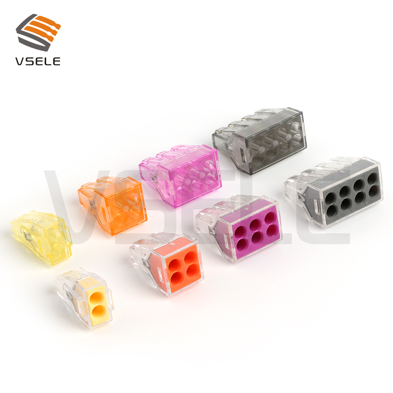 10Pcs VSE-104 773-104 Push In Wire Wiring Connector For Junction Box 4 Pin Conductor Terminal Block Wire Connector