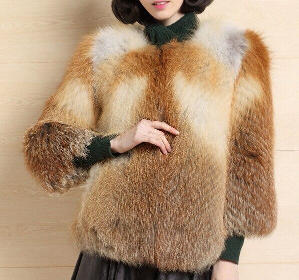 Fourrure Nouveau Femmes Rouge Or Manteau Femelle Argent Veste gris Style Renard Automne Mode De Hiver C507 Véritable pSUMqzV
