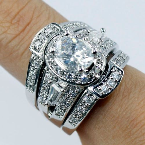 Exceptional 3 In 1 Engagement Wedding Ring Set AAA Cubic Zirconia Diamonique 14kt White  Gold