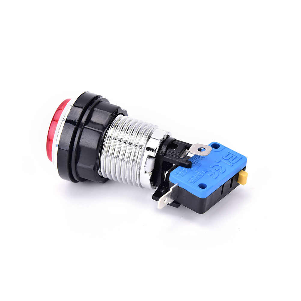 Gmarty 5 Colors Chrome Plated Illuminated 12v LED Arcade Push Button With Microswitch 1PCS