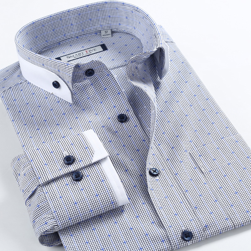 Casual Col Masculina De argent Importés Hommes Coton 100 Ciel Pu Carreaux Double À Clothin Camisa Marque Chemises D'impression Dot Boucle Robe SOwxq6