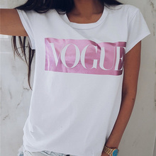 Hot Sale Women Short Sleeve Printed Letter Vogue T Shirt Tops Casual Loose Tee Womens Tshirt