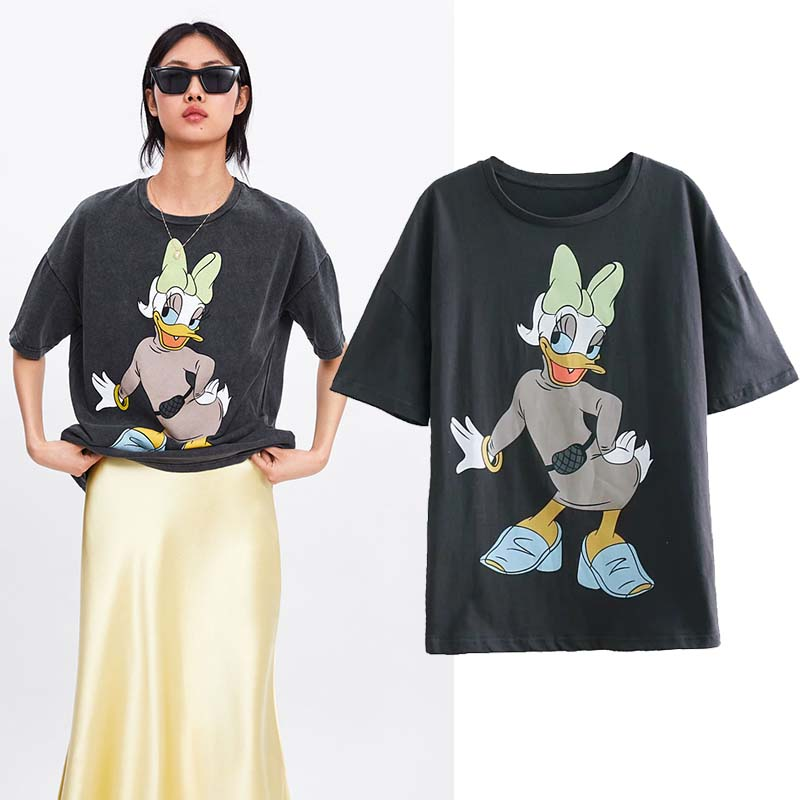 JXYSY 2019 t-shirt women england style vintage letter cartoon Daisy Duck printing o-neck cotton t shirt women tops