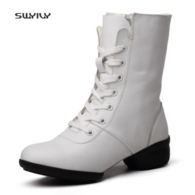 SWYIVY Women Modern Dance Shoes Genuine Leather Hollow Sneakers 2018 New High-top Zip Dance Shoes Light Weight For Female