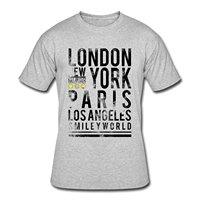 مبتسم العالم مدينة لندن نيويورك باريس la الرجال القميص أزياء الطباعة شيرت زائد الحجم أزياء تي شيرت ماركة الزى للرجال 2017 جديد