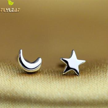 Flyleaf 925 Sterling Silver Moon Stars Stud Earrings For Women Romantic Girl Gift Prevent Allergy Sterling-silver-jewelry