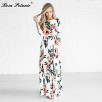 Summer Women Floral Print Wrist Sleeve Boho Dresses Femme Vestidos Ladies Evening Party Long Maxi Dress