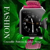 QIALINO Véritable En Cuir Femmes RoseRed Bracelet pour iWatch Inoxydable Connexion Adaptateur pour Applewatch 42mm 38mm Series1 Series2