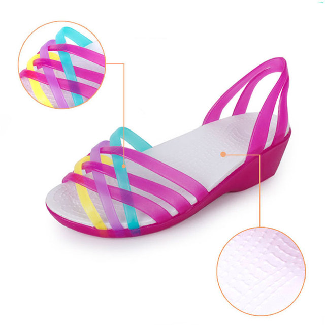 Nasipal Women Sandals 2017 Hot Summer Candy Color Women Shoes Peep Toe Stappy Beach Wedges Sandals Croc Jelly Shoes Woman G3
